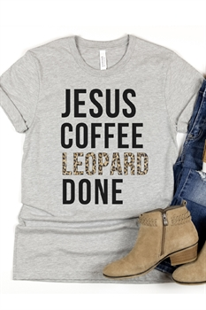 Picture of Jesus, Coffee, Leopard Done Graphic Tee by FBT
